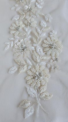 Ground Fabric : Tule Color : Ivory Champagne Size (US or Imperial) : inches length x inches width Size (Metric) : 25 cms length x 10 cms width International shipping costs start at USD 20 per order. The goods are shipped through premium c Zardosi Embroidery, Pearl Embroidery, Bead Embroidery Patterns, Hand Work Embroidery, Couture Embroidery, Embroidery Fashion, Hand Embroidery Designs, Embroidery Stitches, Modern Embroidery