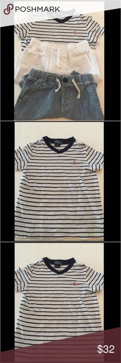Boys Polo Ralph Lauren and Baby Gap size 5 and 6 Boys Polo Ralph Lauren and Baby Gap size 5 and 6 bundle.  Polo Ralph Lauren navy and white v neck Tshirt shirt size 5.  Boys white polo shorts size 6.  Jean Baby Gap drawstring shorts size 5 years.  Gently loved. Polo by Ralph Lauren Other