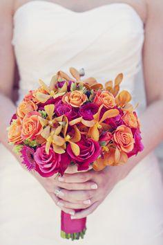 Brilliant pink and orange bouquet via Style Me Pretty Georgia ~ jacksondurham.com