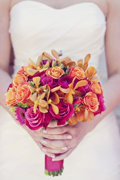 Brilliant pink and orange bouquet via Style Me Pretty Georgia ~ jacksondurham.com
