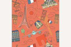 Paris Seamless Pattern  @creativework247
