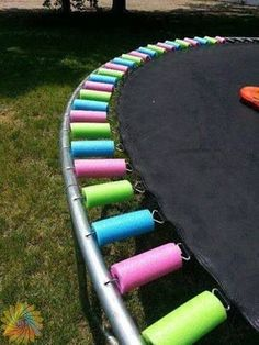 Use pool noodles to recover exposed springs...spray with glow in the dark paint for night time fun!