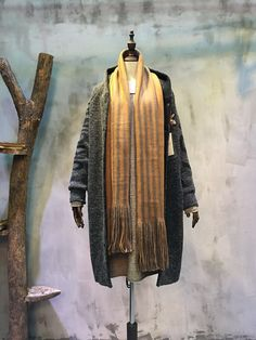 Fashion Vertical Stripes Long Fringed Scarf Cheap Cashmere Scarf