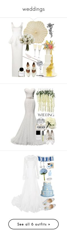 """""""weddings"""" by thestyleartisan ❤ liked on Polyvore featuring Cathy's Concepts, Reception, Palm Beach Jewelry, Byredo, Allurez, Kate Spade, Butter London, Honor, OKA and Betsey Johnson"""