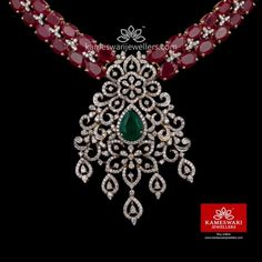 Buy Necklaces Online | Ruby Red Highlight Diamond Necklace from Kameswari Jewellers Red Highlights, Half Saree, Necklace Online, Ruby Red, To My Daughter, Jewelry Making, Necklaces, Jewels, Diamond