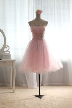 Pink Tulle Bridesmaid Dress Prom Dress Knee Length by dresstalk, $82.00