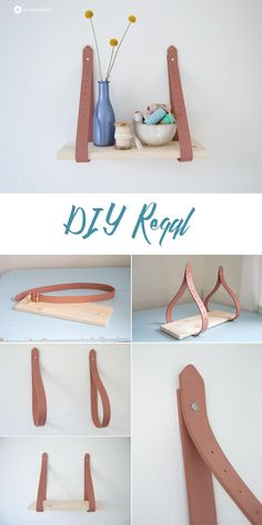 DIY Regal zum Aufhängen aus Gürteln, tutorial, upcycling, diy, shelf, home, Dekoration