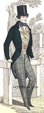Men's fashion from the 1840s, a possible costume choice for Isaiah, which could be used during Benjamin's daydream. Look at that tiny waste. Another ridiculous beauty standard for men.
