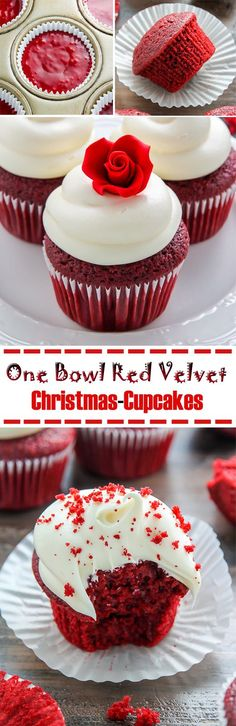 One Bowl Red Velvet Christmas Cupcakes