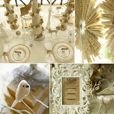 Vintage Glam Winter Woodland party - Love the rolled up music sheets that make the hanging decor!
