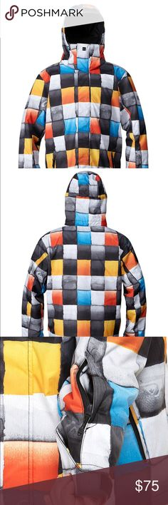 Mens QuikSilver Snow Jacket Mission 10K Insulated Description  Available S/M/L & XL  Dare to be bold in the cold.      10,000mm Waterproof     5,000g Breathability     100% Polyester printed herringbone     Taffeta lining     Critically taped seams     60g body/ 40g sleeves and hood insulation     2-way adjustable removable hood     Jacket-to-pant attachment system     Fixed PU taffeta powder skirt     Mesh lined venting     Inside chest media pocket     Lycra wrist gaiters     Sleeve pass…