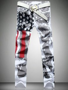 Casual Colorful Printing Zip Fly Straight Legs Denim Pants For Men - WHITE 32