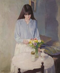 Interior with Figure - Ángel Badia Camps Catalan b.1929- Oil on canvas