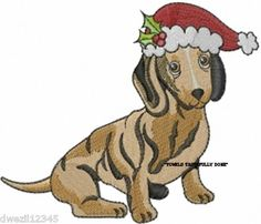 CHRISTMAS DACHSHUND DOG - DOGS - 2 EMBROIDERED HAND TOWELS by Susan