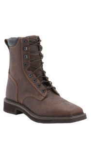 Justin Stampede Mens 8in Rustic Barnwood Square Toe Lacer Work Boots | Cavender's