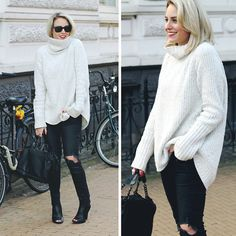 H&M Turtleneck Sweater, H&M Jeans, Zara Bag, Nelly Heels