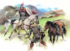 """""""An Arthurian Romano-British landlord clashes with a Saxon raider on the outskirts of Bath, Britain, in the late fifth century"""""""