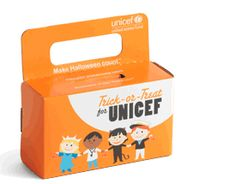 UNICEF boxes at Halloween.