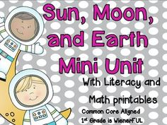 Sun, Moon, and Earth~Writing Mini Unit~ Moon Activities, First Grade Activities, Science Activities, Science Experiments, Science Ideas, Science Fair, Science Lessons, Science Projects, Student Teaching