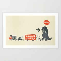 Dinosaur T-Rex Attack! Art Print by Irene Chan - $18.00