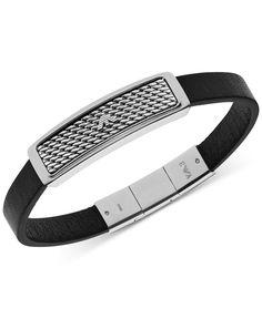 Emporio Armani Men's Stainless Steel and Black Leather Bar Logo Bracelet EGS2139