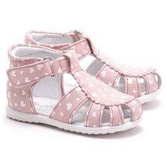 Roczki - Różowe Nubukowe Sandały Dziecięce - E 2354