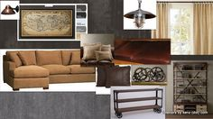 Industrial Basement Mood Board... i want the feel of this for the front room!