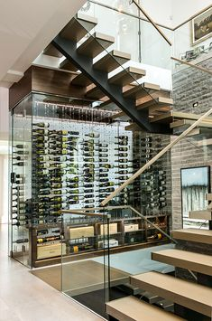 Cable Wine System Wine Cellar by Papro Consulting Glass Wine Cellar, Home Wine Cellars, Wine Cellar Design, Wine Glass, U Shaped Staircase, Modern Staircase, Staircase Design, Staircase Contemporary, Staircase Ideas