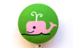 Retractable Fabric Badge Reel ID Holder Preppy Pink Whale.