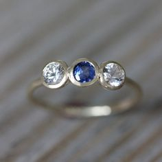 14k Yellow Gold, Blue and White Sapphire Ring, a Vintage Inspired Petite Three Stone Ring, Made To Order