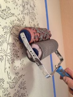 How To- Patterned Paint Roller, easier than a stencil, full wall pattern look!  TheRaggedwren.blogspot.com