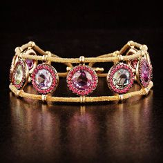 """""""Natural multi-color sapphire, spinel, gold and leather bracelet.  #taffinjewelry #taffin #jamesdegivenchy #sapphire #bracelet"""""""