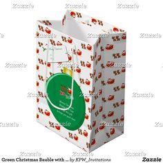 Green Christmas Bauble with Santa's & Sleigh Medium Gift Bag