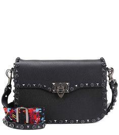 VALENTINO Valentino Garavani Rockstud Rolling leather shoulder bag. #valentino #bags #shoulder bags #lining #denim #silk #suede #