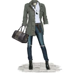 Fat Face Military Jacket w/ distressed skinny jeans and knee-high black boots