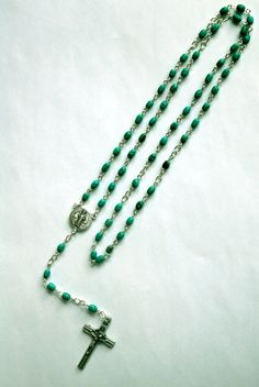 Genuine Turquoise St Benedict Rosary by IslandGirl77 on Etsy, $32.99