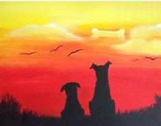 Drink Creatively at Paint Nite! Gather with friends and create something beauti. - Drink Creatively at Paint Nite! Gather with friends and create something beautiful. Silhouette Painting, Dog Silhouette, Dog Paintings, Easy Paintings, Funny Paintings, Pictures To Paint, Dog Art, Painting Inspiration, Painting & Drawing