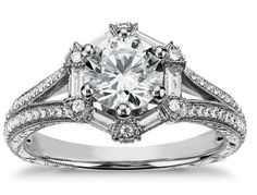 vintage hexagon-shaped engagement ring set in platinum,Monique Lhuillier Fine Jewelry available at Blue Nile
