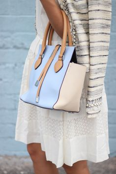 Michael Kors Handbag + Tory Burch Tweed Jacket + Ann Taylor Cream Dress