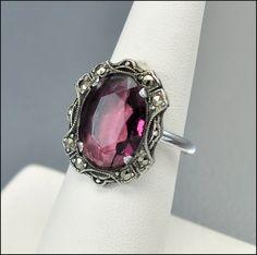 Marcasite Sterling Silver Art Deco Ring Purple Glass by boylerpf, $30.00