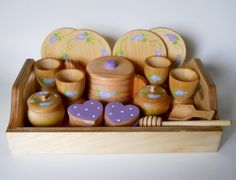 Lilac Tea Set Wooden Tea Set Tea Set with Tray by 2HeartsDesire Hand Made By Us In The U.S.A.