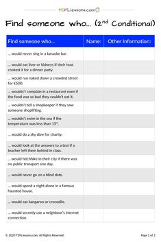 This is a FREE 'find someone who..' activity to practice the the Second Conditional. It's just one of many FREE handouts available from our site. #SecondConditionalCommunication #SecondConditional  #grammar #ESLgrammar #EnglishGrammar #TeachingGrammar #TESOL #TESL #TEFL #ELT #ESL #EFL #TeachingEnglish #TEFLtimesavers #FreeEnglishHandouts #FreeEnglishWorksheets Communication Activities, Grammar Activities, Teaching Grammar, English Grammar, English Language, Online Lessons, Teacher Notes, Learning English, Find Someone Who