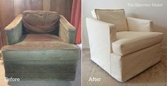 Natural canvas slipcover custom made for vintage Henredon club chair.