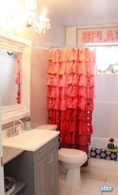 Pinks! I've always wanted that shower curtain from Anthropologie! 30 Really Cool Kids Bathroom Design Ideas | Kidsomania