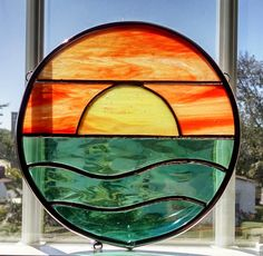 Sunset Stained Glass Window Panel Round by StainedGlassYourWay