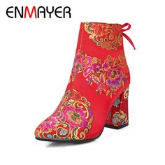 (36.01$)  Know more  - ENMAYER Ankle Boots for Women Zip Silk Bowtie Pointed Toe Winter Boots Shoes Woman Shoes Short Plush Red Flower Wedding Shoes