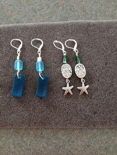 Blue ocean glass earrings and starfish earrings