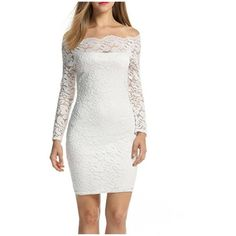 Women's Shoulder Lace Dress Long Sleeve Cocktail Party Wedding Dresses ($14) ❤ liked on Polyvore featuring dresses, white, long sleeve lace cocktail dress, long-sleeve lace dress, evening cocktail dresses, long sleeve lace dress and long sleeve cocktail dresses