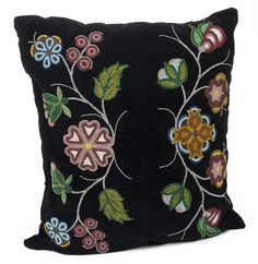 Ojibwe beaded velvet pillow Created: not earlier than 1900 - not later than 1950