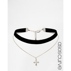 ASOS CURVE Velvet and Cross Charm Multirow Choker Necklace ($6.06) ❤ liked on Polyvore featuring jewelry, necklaces, accessories, choker, plus size, silver, cross charms, pendant choker necklace, chain choker necklaces and chain choker